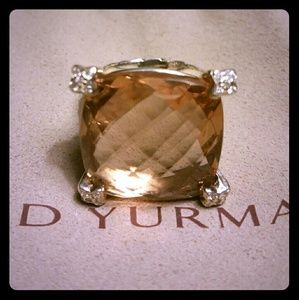 David Yurman 20mm Morganite & Diamond Ring